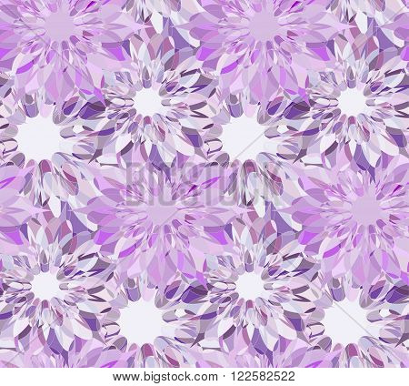 Seamless pattern with lilac floral guilloche. Amethyst crystal seamless guilloche pattern. Seamless floral pattern. Violet seamless background. Guilloche design line art pattern. Vector illustration