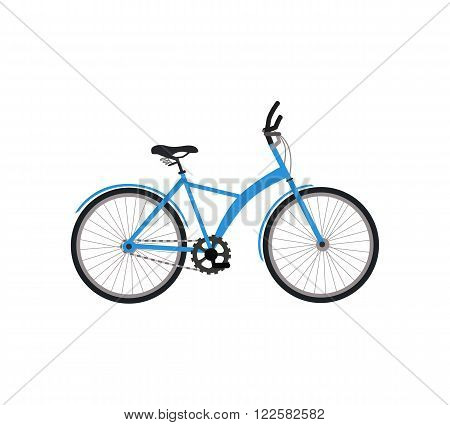 Bicycle icon design flat isolated. Bike and blue bycicle, cycling race sport. Mountain bicycle, travel bicycle vector illustration