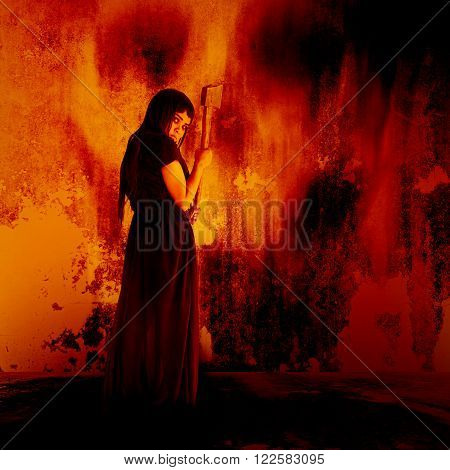 Woman carry an axe,Horror background for halloween concept and movie poster project