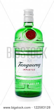 Winneconne WI - 21 February 2015: Bottle of Tanueray London Dry Gin alcohol beverage