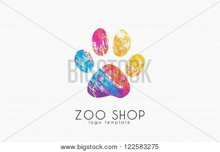 paw print logo. Creative animal logo. zoo logo. zoo shop. creative logo
