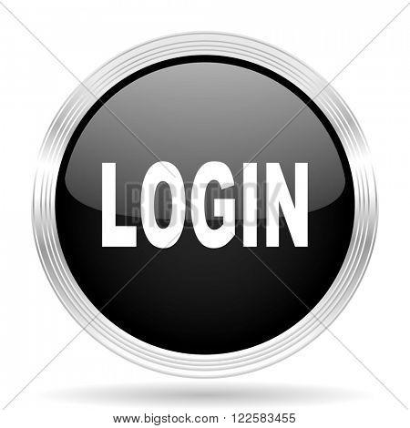login black metallic modern web design glossy circle icon