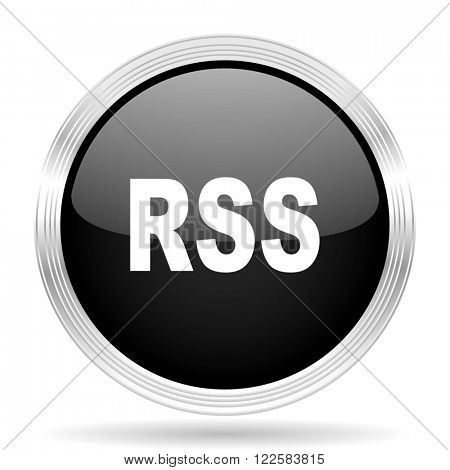 rss black metallic modern web design glossy circle icon