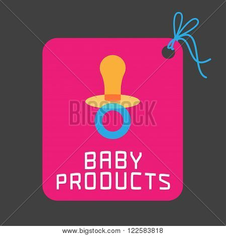 Baby products vector logo. Emblem with cute soother for a shop company or product. Design element for advertising materials