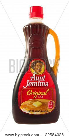 Winneconne, WI - 5 February 2015: Bottle of Aunt Jemina Original syrup and is owned by the Quaker Oats Company.