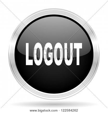 logout black metallic modern web design glossy circle icon