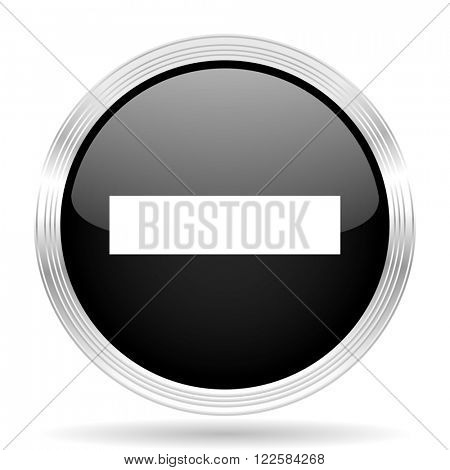 minus black metallic modern web design glossy circle icon