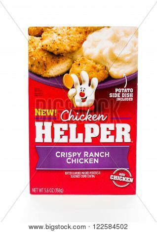 Winneconne, WI - 8 February 2015: Box of Chicken Helper Crispy Ranch Chicken, Just chicken to complete the meal.