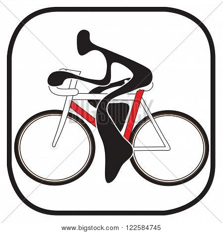 Shadow man riding bicycle cartoon design sport logo and symbol graphic design