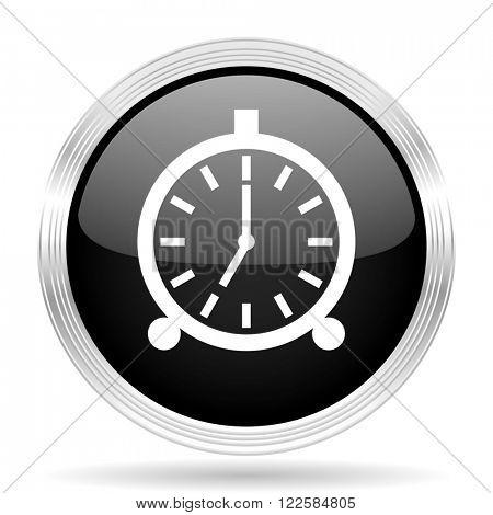 alarm black metallic modern web design glossy circle icon
