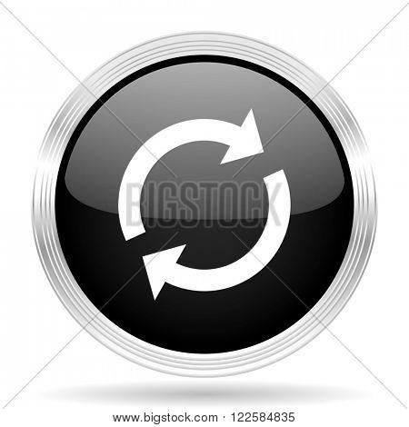 reload black metallic modern web design glossy circle icon