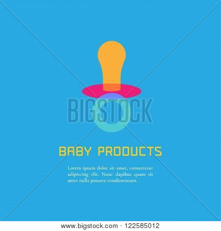 Illustration of soother made in cute bright style vector. Baby products concept. Design element logo or clipart for a shop product or company