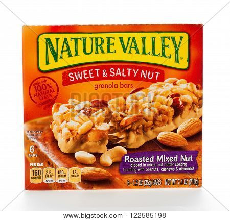 Winneconne WI - 7 February 2015: Box of Nature Valley Sweet & Salty Roasted Mixed Nut granola bars.
