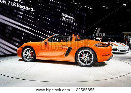 Geneva, Switzerland - March 1, 2016: 2016 Porsche 718 Boxster S presented on the 86th Geneva Motor Show in the PalExpo