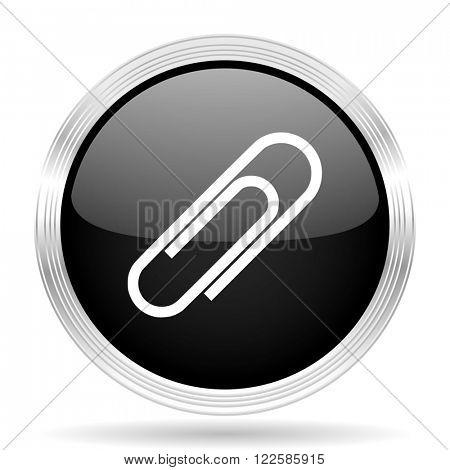 paperclip black metallic modern web design glossy circle icon