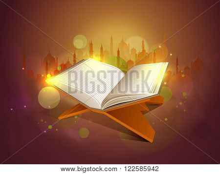 Glossy Islamic Religious Book Quran Shareef on Mosque silhouetted shiny background for Muslim Community Festival celebration.