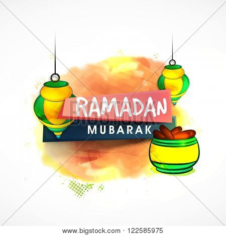 Stylish text Ramadan Mubarak on glossy paper tags with beautiful hanging lamps and sweet dates for Islamic Holy Month celebration.