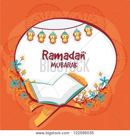Open Islamic religious book, Quran Shareef on beautiful flowers decorated background for Holy Month of Prayers, Ramadan Mubarak celebration.