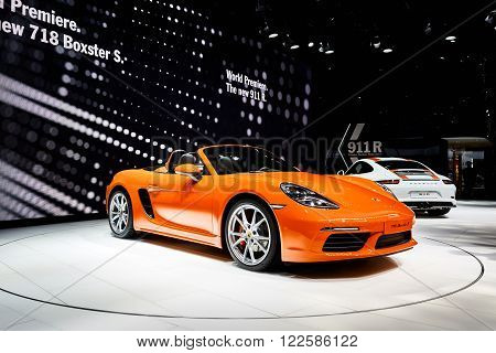 Geneva, Switzerland - March 1, 2016: 2016 Porsche 718 Boxster S presented on the 86th Geneva Motor Show in the PalExpo