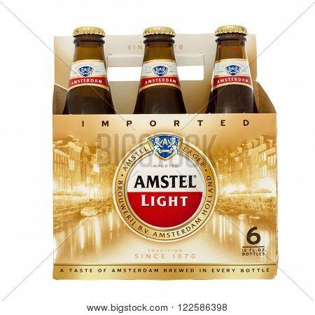 Winneconne WI -31 Oct 2015: Six pack og Amstel light beer.
