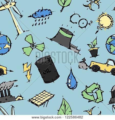 Ecology icons set hand drawn vector illustration