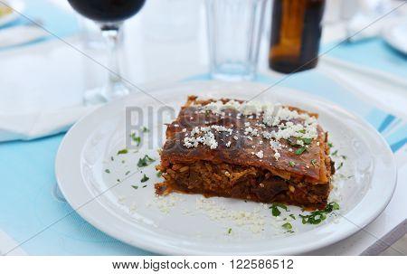 Traditional Kefalonian meal - kefalonian meat pie