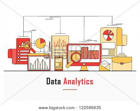 Modern flat style illustration of Data Analysis, finance statistics, web search analysis, database research, Can be used as web banner, hero image and website slider.