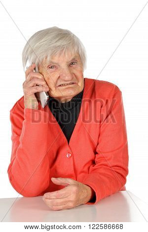 Photo of a senior woman talking on mobile phone
