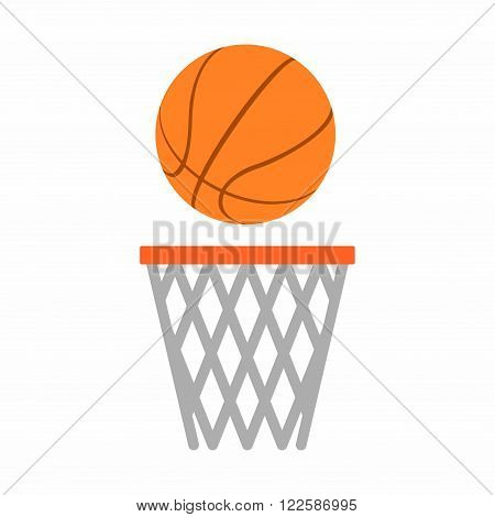 Basketball ball net in flat dasing style isolated on white background. Vector Illustration