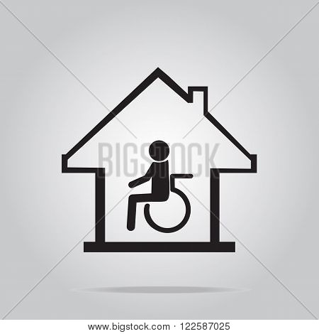 Disabled care Nursing home sign vector icon