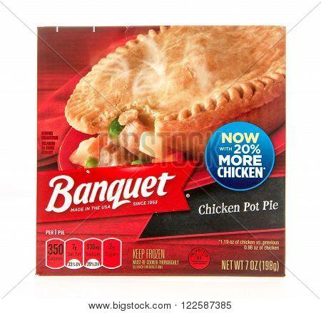Winneconne WI -28 Oct 2015: Box of Banquet chicken pot pie.