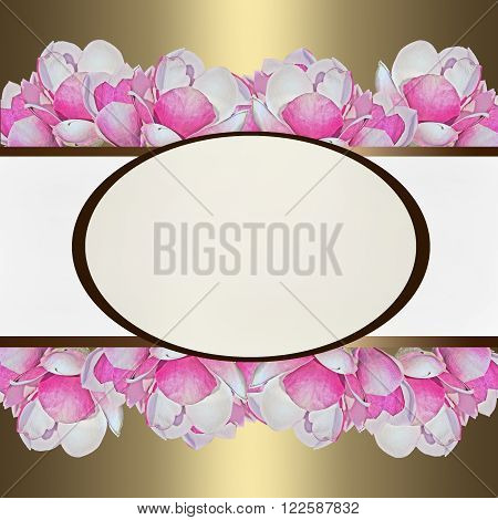 gold background with pink magnolia flowers and oval frame in the middle