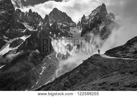 Man overlooking peak Pale San Martino, SudTirol