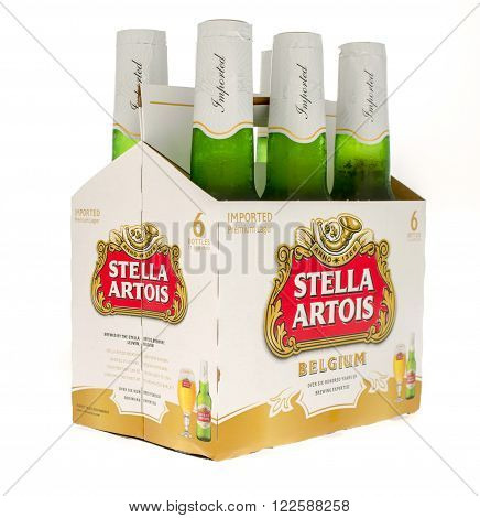 Winneconne WI -18 Oct 2015: Six pack of Stella Artois premium lager.