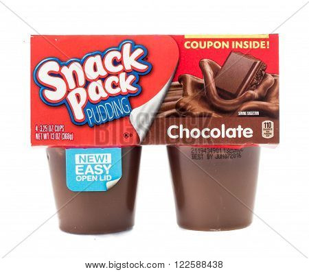 Winneconne WI - 4 February 2015: Package of Snack Pack Pudding Chocolate flavor. Created in 1984 as pre-packaged and is now owned by ConAgra Foods.