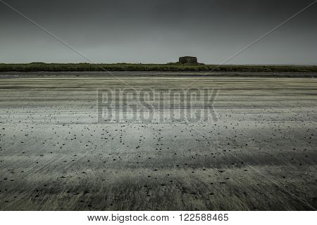 Deserted beach in the Arctic. The disturbing gray landscape.