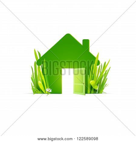 Eco home - template flat logo with realistic grass. Ecological construction, natural materials, cottage village. Green house icon,  eco home logo,  energy efficient home sign. Green energy. Green building. Trending green illustration