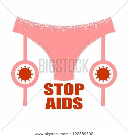 Lingerie icon simple. Sexy woman lingerie and garter with Virus icon vector illustration. Stop AIDS text