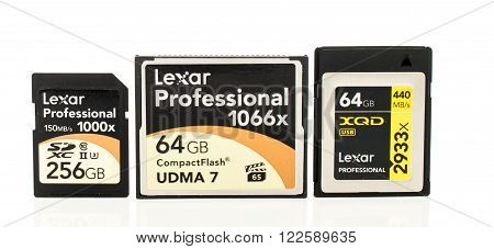 Winneconne WI - 3 Dec 2015: Lexar Professional series memory cards featuring SDXC CompactFlash and XQD.
