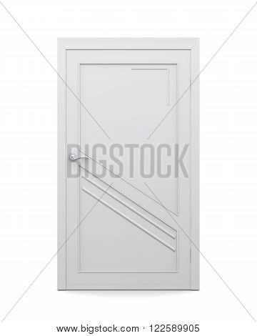 3d image of door isolated on a white background. Closed door.