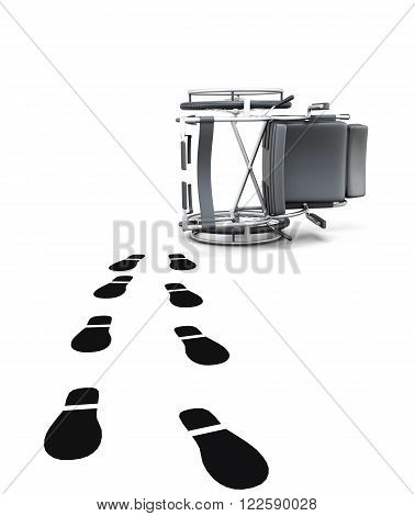 Empty wheelchair and footprints on white background. 3d rendering.