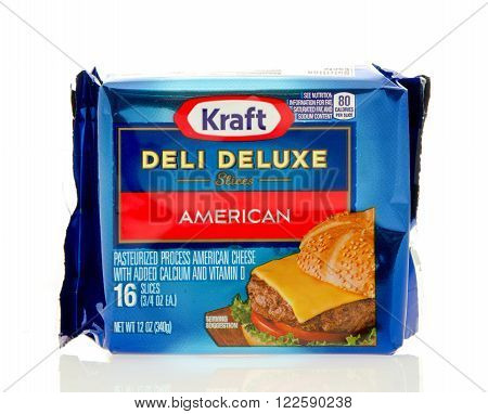 Winneconne WI - 24 Dec 2015: Package of Kraft deli deluxe American cheese slices.