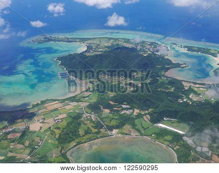 Aerial view of Ishigaki Island (neighbor of Kabira Bay) in Okinawa, Japan.