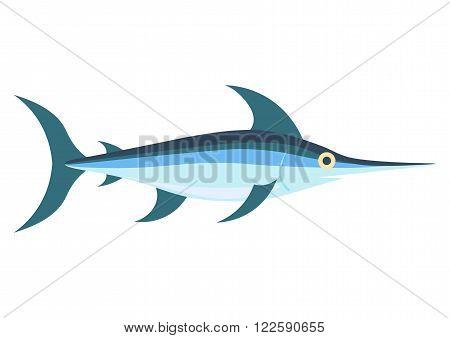 Swordfish flat vector, Isolated on white background