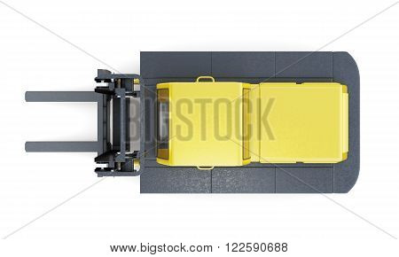 Lift truck top view isolated on white background. 3d rendering.