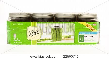 Winneconne WI - 20 April 2015: Case of Ball canning jars in pint size.
