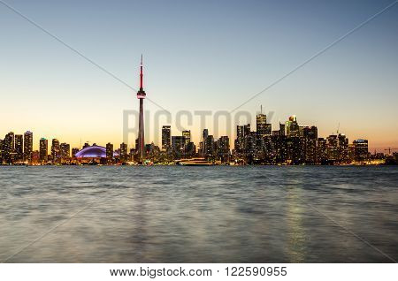 Toronto CA 1st July 2012. Toronto Skyline at Sunset from Toronto Islands