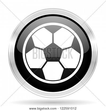 soccer black metallic modern web design glossy circle icon