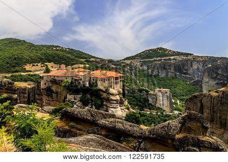 Meteora Monasteries, Greece, Orthodox religion. Color image.