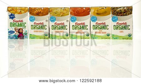Winneconne WI - 6 Dec 2015: Packages of Campbell's organic soup.